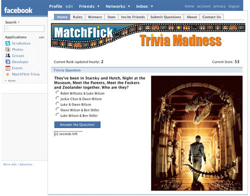 matchflick trivia screen shot