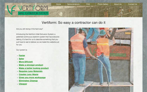 vertiforms.com screen shot
